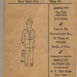 Simplicity 407       Boys' Sailor Suit        Size 4