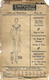 Simplicity 318     Ladies' Dress      Size 42